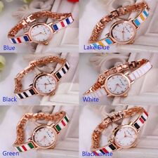 The Colored Squares Stainless Plated Metal Wristband Crystal Fashion Women Watch