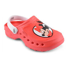 New Kids Childs Girls Junior Minnie Mouse Character Summer Clogs Shoes UK 7-5