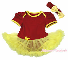 Infant World Cup Spain Red Bodysuit Yellow Pettiskirt Girl Baby Dress NB-18Month
