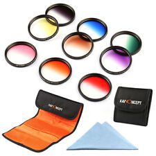 9pcs Graduated Color Lens Filter Kit For Nikon Canon 37 40.5 49 52 55 58 67 77mm