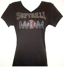 RHINESTONE SOFTBALL MOM V-NECK TSHIRT BLACK PLUS SIZE:S,M,L,XL,1XL,2XL,3XL TOPS
