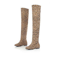 New Fashion Autumn Thigh-High Leopard Sexy Womens Boots Flats Vogue Shoes oxford