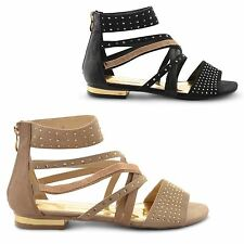 NEW LADIES DOLCIS ZIP UP SUMMER GLADIATOR FANCY STRAPPY FLAT SANDALS UK SIZE 3-8
