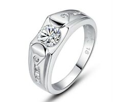14K White Gold Pl. 925 Sterling Silver Promise Ring Luxury Men's Charms Jewelry