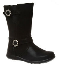 Girls/Tween Boots Grosby Peta Black zip Up Boot Size 12-6 New Flower buckles