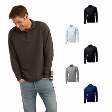Hanes Long Sleeve Polo T-shirt for Men - Top Polo Comfort Fit 100% Cotton
