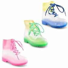 New Kids Girls Lace Up Clear Jellie Wellington Wellies Ankle Rain Boots UK 11-3