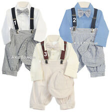 New Boys Vintage Suit Seersucker Suspenders Knicker Set Outfit Easter Christmas