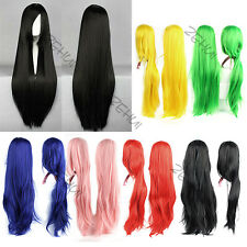 Ladies Women Long Straight Wigs Hair Cosplay Wigs Heat Resistant Long Bangs