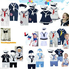 Baby Boy Girl Sailor Outfit Navy Captain Costume Romper Dress 3-24M w Marine Hat