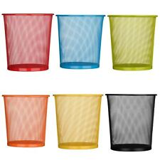Large Colourful Metal Mesh Waste Paper Basket Office Bedroom Rubbish Bin