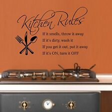 Kitchen Rules Wall Sticker Art Quote Decal Decor Vinyl Stickers Home Love Q33