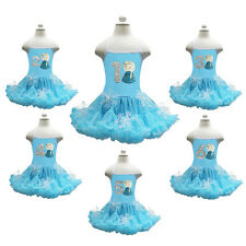 Embroidered Elsa 1-6 Birthday Blue Princess Pettiskirt Snowflake Party Dress 1-6