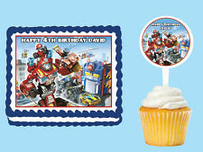 TRANSFORMERS RESCUE BOTS  Edible Cake Topper Cupcake Image Decoration Birthday