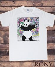 Mens White Banksy Panda Guns Graffiti Fashion/Graphic T-shirt TSB2