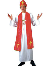 Mens Holy Cardinal Costume for Vicar Priest Religious Fancy Dress Mans Male