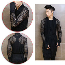 New Men Hollow See Through Gloves Design Stylish Cardigan Sweater Jacket Outwear