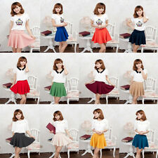 Candy Color Mini Flared Skirt High Waist Stretch Plain Pleated Short Women Dress