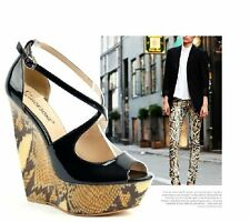 Womens Black Peep Toe Cut Out Strappy Mens Gays Platform Snake Wedge Heels Shoes