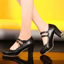 Womens Vintage Retro Mary Jane Block Heel Cut Out Summer Court Shoes Plus Size