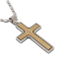New Fashion Men's Gold Silver Tone Cross Stainless Steel Pendant Necklace JDC
