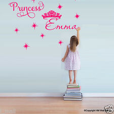 PERSONALISE Name & Princess, Crown Removable wall sticker for kids room/ Nursery