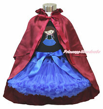 Princess Anna Print Black Top Royal Blue Pettiskirt & Wine Red Costume Cape 1-8Y