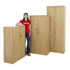 Beech Office Cupboard Storage Lockable Cabinet Home Filing Shelving 4 Sizes