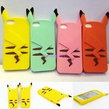 Yellow 3D Pokemon Cute Pikachu Silicone Case Cover Skin For Apple iPhone 4 5 6