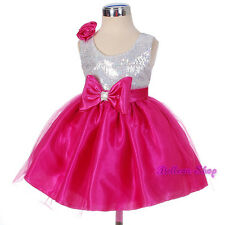 Sequined Hot Pink Wedding Flower Girl Pageant Birthday Party Dress Sz 12m-8 #280