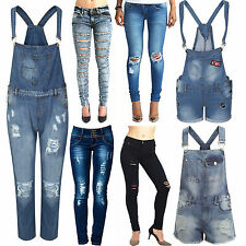 NEW ELEGANT LADIES WOMEN SKINNY FIT RIPPED HIGH WAIST DUNGAREES JEANS COLLECTION