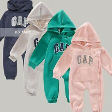 New Baby Girls Boys Longsleeves Hooded One Piece Jumpsuit Romper Size 6M-18M