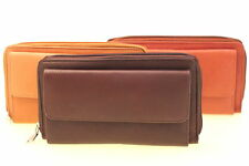 Womens Clutch Wallet Organizer Genuine Leather Zipper Money Compartment New