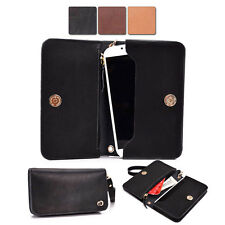 Full Grain Genuine Leather Wristlet Wallet Case fits Samsung Mobile Phone