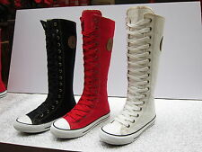 Women Canvas Flat Sneakers Lace Up Knee High Boots 3 Colours