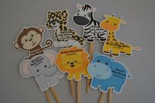 UNIQUE JUNGLE ANIMALS CUPCAKE TOPPERS, CUPCAKE PICK BABY SHOWER, BIRTHDAY FAVOR
