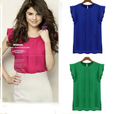Womens Candy Color loose CrewNeck Chiffon Short Sleeve Blouse Tops DYM12