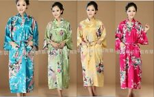 Chinese Women's silk long style Kimono Robe Gown sleepwear Sz: S M L XL 2XL 3XL