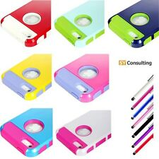 Colorful Hybrid Rubber Rugged Combo Soft Case Hard Cover for iPhone 5+Stylus Pen