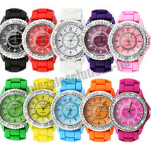 Bling Crystal Silicone Quartz Bracelet Wrist Watch Ladies Womens Coloured Stone