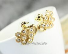 New Fashion Korean Style Exquisite Crystal Swan Ear Stud Jewelry Stud Earrings