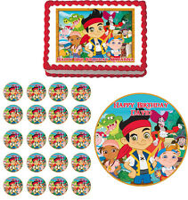 JAKE And The Neverland Pirates Edible Birthday Cake Topper Cupcake Image Party
