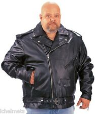 MENS PREMIUM BUFFALO LEATHER MOTORCYCLE JACKET 014.00 BIG AND TALL