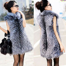 2014 New Real Silver Fox Fur Vest Women Fur Outerwear Natural Fur Waistcoat Long