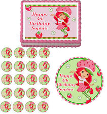 STRAWBERRY SHORTCAKE Edible Birthday Cake Topper Cupcake Image  Party Decoration