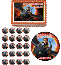 HOW TO TRAIN YOUR DRAGON Edible Birthday Cake Topper Cupcake Image  Party