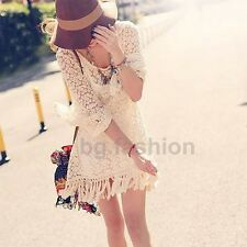 Mujer Vintage Boho Floral Printing Long Sleeve Mini Dress Tops Con Un Chaleco