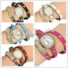 Fashion Women Round Bowknot Strass Crystal Leather Quartz Bracelet Wrist Watch