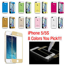 Coloured Tempered Glass Screen Protector Film + Back Sticker For iPhone 5 5S NEW