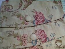 JCPenney FLORAL COTTON BEIGE ROSE Rod Pocket LINED Curtains Drapery Pair 84 x 84